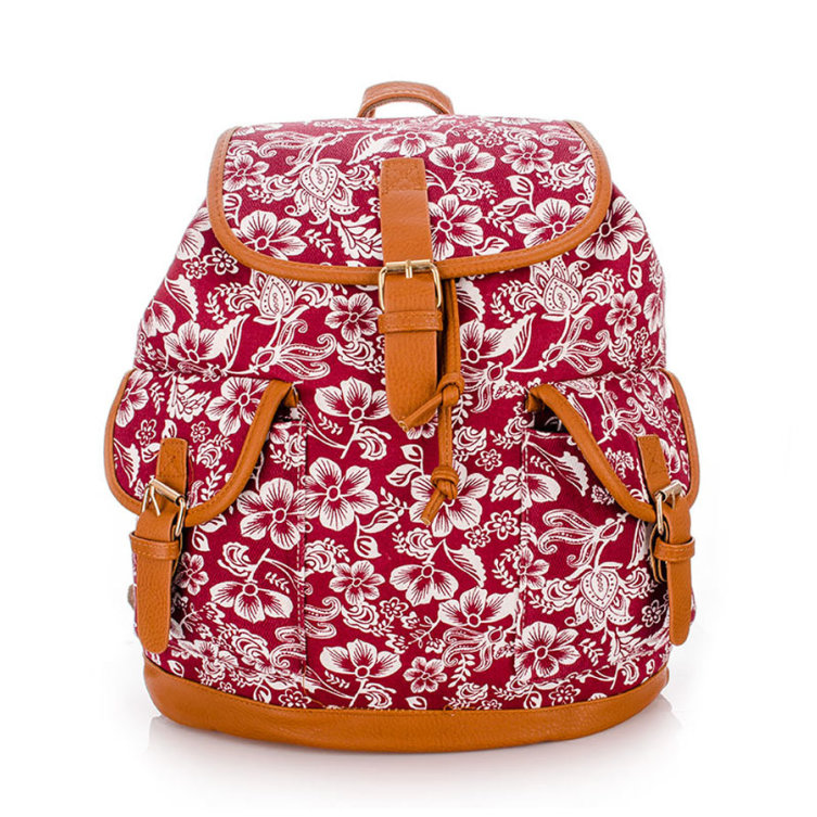Plecak Vintage Flower Dark Red